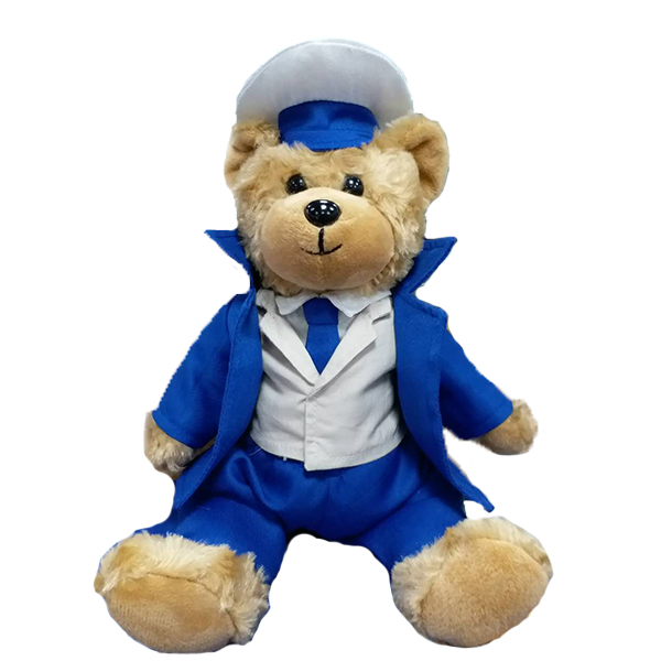 Plush navy teddy bear