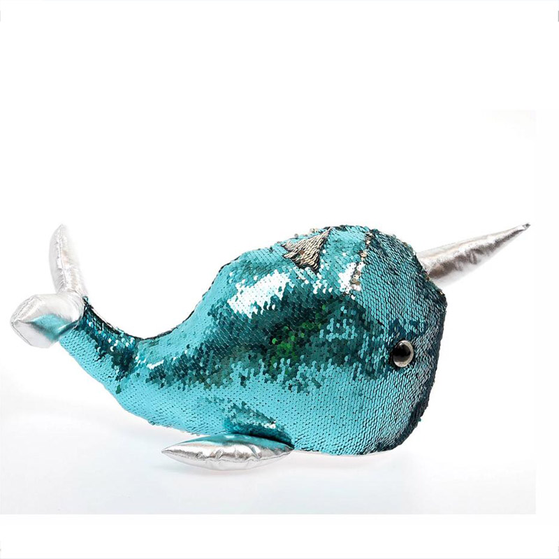 Blue Swipe Sequin Narwhal Soft Toy