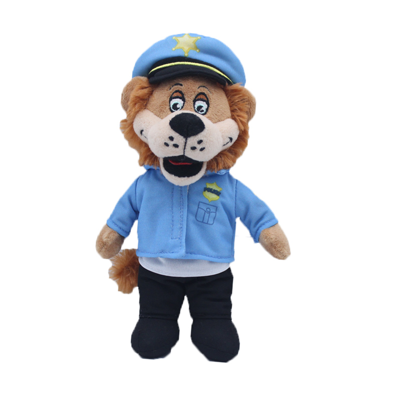 Custom plush lion doll policeman