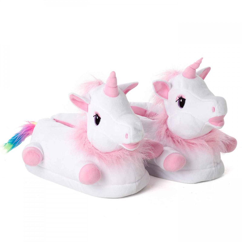 Plush pink unicorn slippers