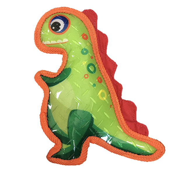 Rubber chewing dog toy plush dinosaur with squeaker